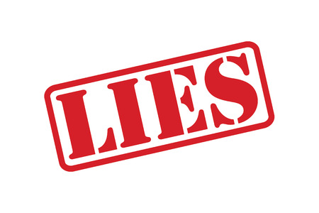 falsification: LIES red rubber stamp text vector over a white background.