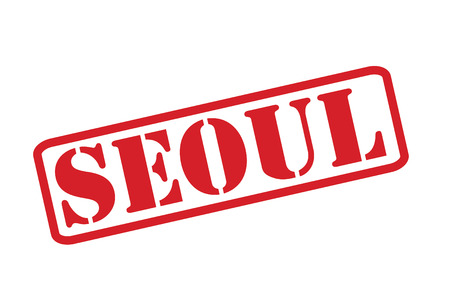 SEOUL red rubber stamp vector over a white background. Vector