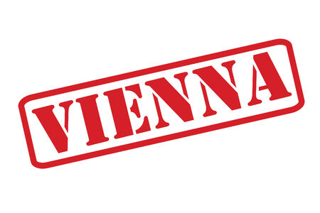 VIENNA red rubber stamp vector over a white background. Vector