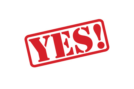 certain: YES! red rubber stamp vector over a white background.