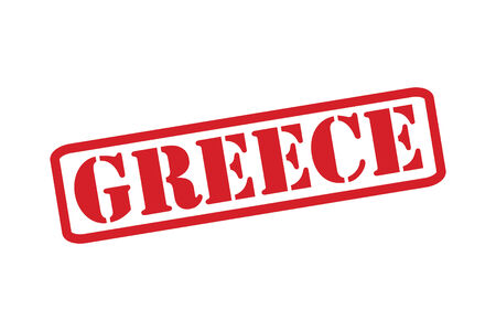 greece stamp: GREECE Red Rubber Stamp over a white background.