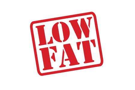low fat: LOW FAT Red Rubber Stamp over a white background.