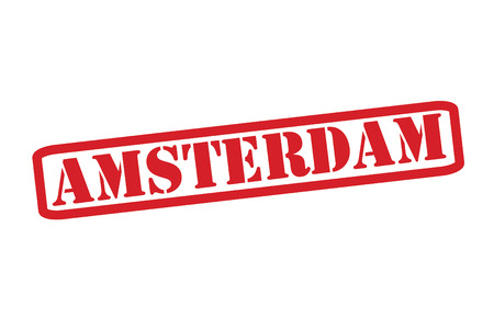 AMSTERDAM Red Rubber Stamp vector over a white background. Vector