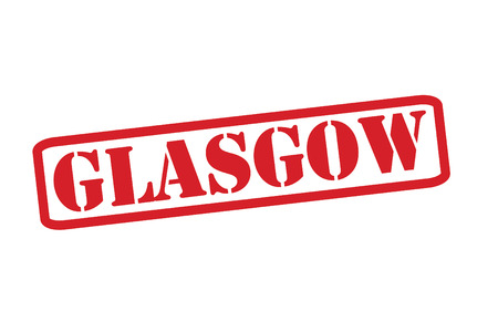 glasgow: GLASGOW Red Rubber Stamp vector over a white background.