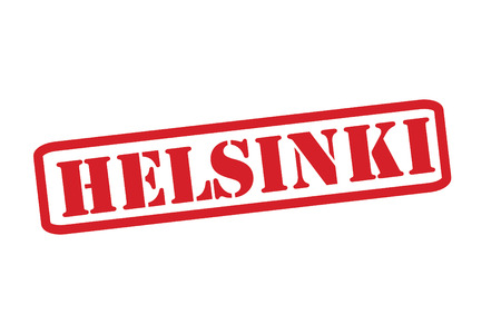 HELSINKI Red Rubber Stamp vector over a white background. Vector