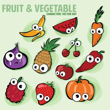 veggies: Funny Various Cartoon Fruits and veggies Characters
