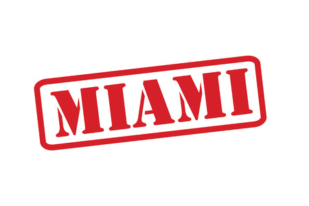 sunshine state: MIAMI Red Rubber Stamp vector over a white background. Illustration