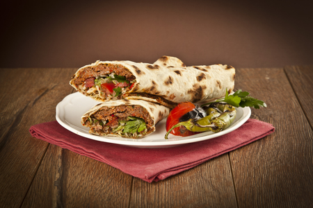 Doner Adana Kebab with Lahmacun Imagens