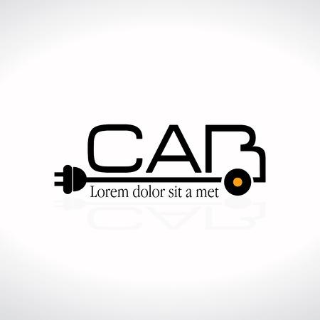 Electric Car Concept Logo Illustration