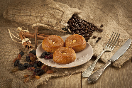 woodenrn: Turkish Ramadan sweet - Sekerpare with wooden background