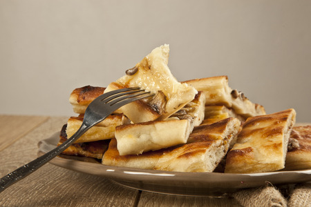 woodenrn: Turkish special pide with mushroom Stock Photo