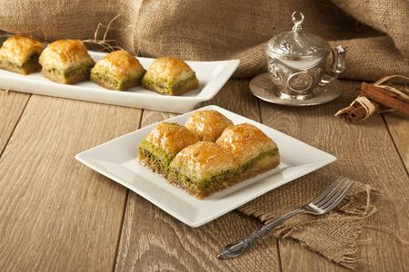 Turkish Ramadan Dessert Baklava with concept background Imagens - 36976972