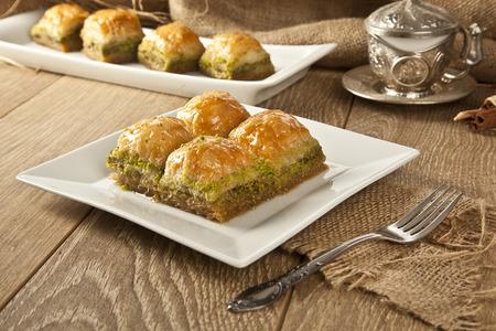turkish dessert: Turkish Ramadan Dessert Baklava with concept background