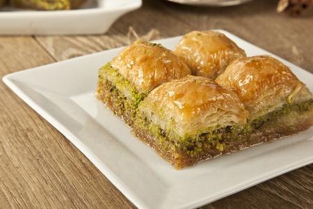 Turkse Ramadan Dessert Baklava met concept achtergrond Stockfoto