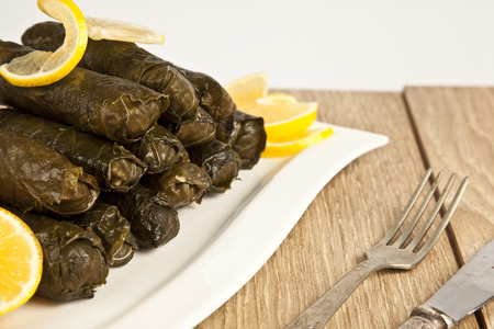 greek cuisine: Wrap stuffed with olive oil Ottoman, Turkish and Greek cuisine, the most beautiful appetizer.