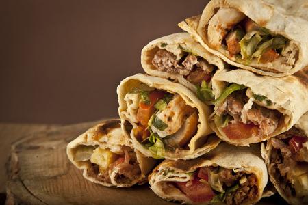 Turkish Shawarma durum Traditional sish kebab wrap Standard-Bild