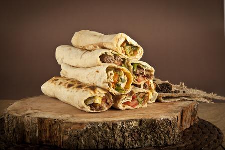 Turkish Shawarma durum Traditional sish kebab wrap Archivio Fotografico