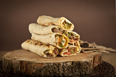 Turkish Shawarma durum Traditional sish kebab wrap 版權商用圖片