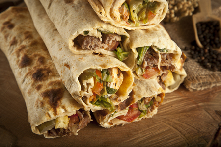 Turkish Shawarma durum Traditional sish kebab wrap photo