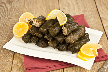 Wrap stuffed with olive oil Ottoman, Turkish and Greek cuisine, the most beautiful appetizer.