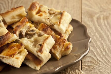 Turkish special pide with mushroom Imagens