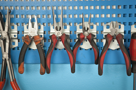 Different Car repair tools set on the wall