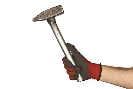 hand hold hammer on a white background