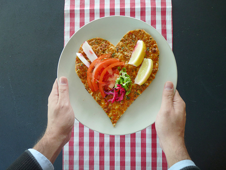 Heart shape turkish lahmacun for Valentines Day