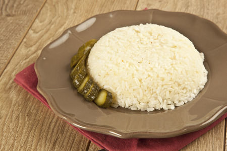Chicken schnitzel with Turkish Pilav Rice Imagens