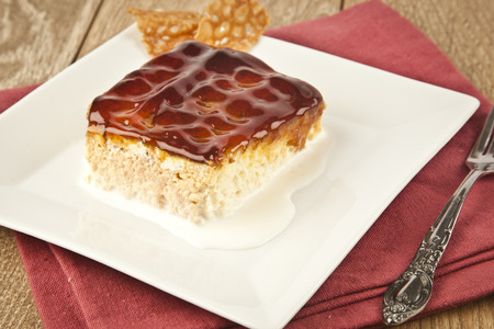 Turkish Traditional Trilece Caramel Dairy Dessert Cake
