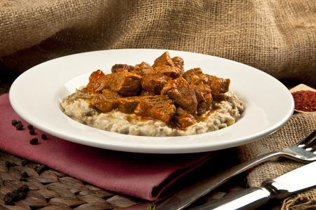 Turkish Food Eggplant and Meat: Hunkar Begendi. Lamb Stew Served on a Bed of Aubergine Puree