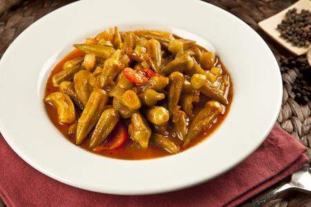 Turkish traditional ramadan food Okra dish with concept background