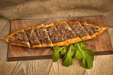 Turkish meat pide pita