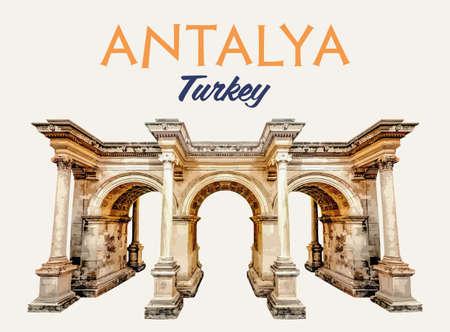 Antalya Oldtown Hadrians Gate Illustration