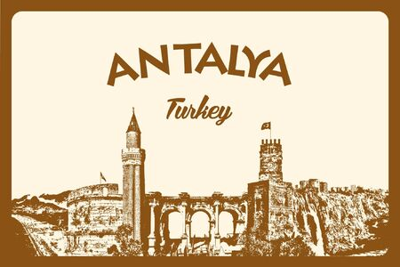 Detailed Antalya Vector Silhouette Collage Çizim