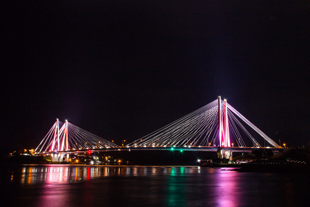 Burning Light over Bridge,  this photo was taken at Jindo, South Korea. this is very famous place for visit.