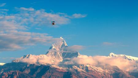flying Ultralight Aircraft, This adventure ultralight aircraft photo was taken at Pokhara, Nepal Stock Photo