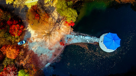 colorful aerial view of Autumn at Naejangsan National Park, South Korea. 写真素材