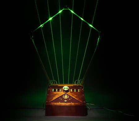 Wooden vintage laser harp Stock Photo