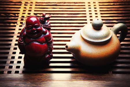 Budai the Chinese deity from mahogany Tomoyasu Hotei Stock Photo