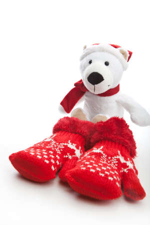 Christmas Baby Winter red wool mittens Stock Photo