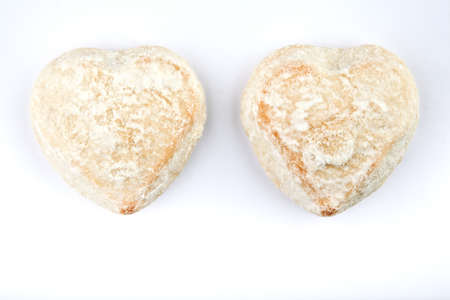 mint gingerbread hearts white background studio quality Stock Photo