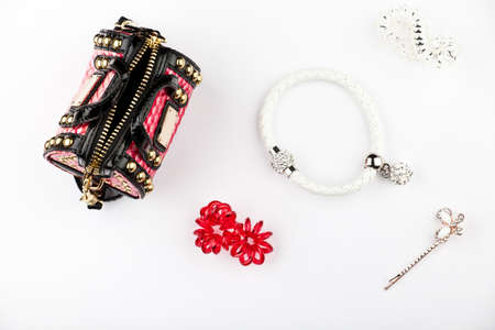 Womans accessories quality quality white background Stock Photo