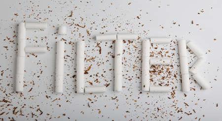 Cigaret filter text studio