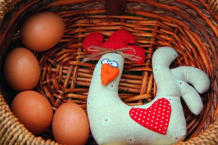 Toy Chicken basket Standard-Bild - 106138546