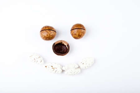 Macadamia nut white background almond