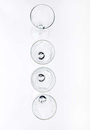 alphabet Empty champagne glass white background