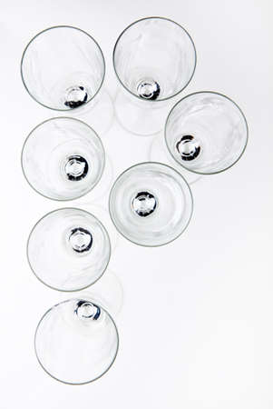alphabet Empty champagne glass white background