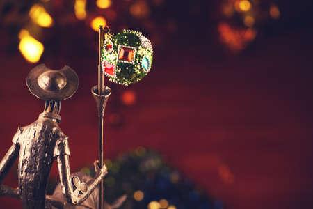 metal knight figure new year toy ball gold bokeh Stok Fotoğraf