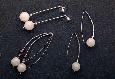 moonstone silver earrings dark background nobody